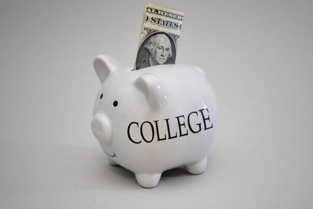 piggy bank representing college costs
